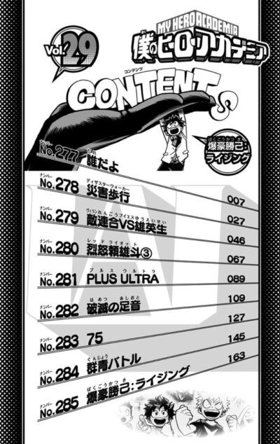 My Hero Academia Volume 29 Contents table