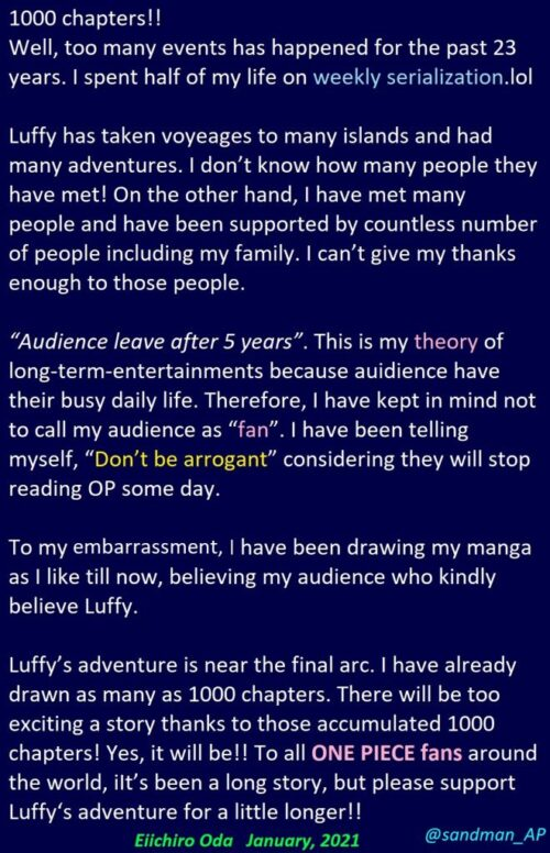 One Piece: Translation of Oda's message on the release of Chapter 1000